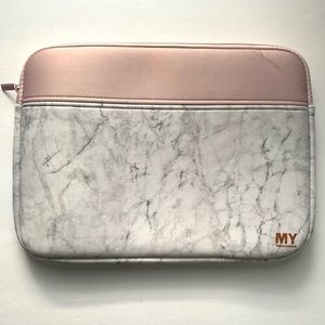 My Tagalongs White Marble Pink Laptop Sleeve
